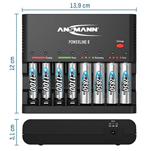 ANSMANN Powerline 8 Akku-Ladegerät Testsieger (Vergleich.org 08/2015) für 8x Mignon AA/Micro AAA Akkubatterien mit Entladefunktion - 5