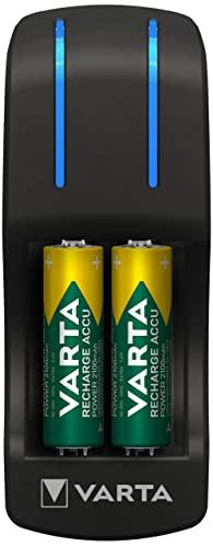 Varta Pocket Charger Ladegerät für bis zu 4 AA/AAA Akkus (inkl. 4x AA Akkus, 2100 mAh)