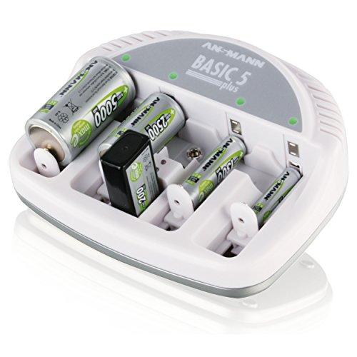 ANSMANN 5207303 Basic 5 plus Ladegerät für Akkus Micro AAA, Mignon AA, Baby C, Mono D, 9V-Block, LED-Anzeige Dauerladung